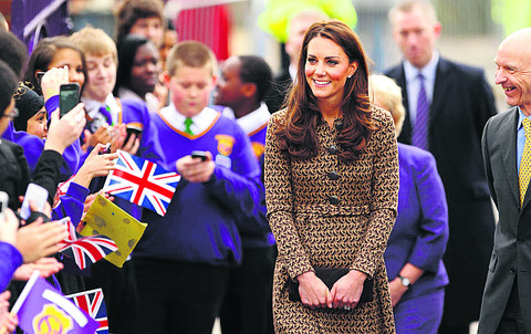 The Duchess of Cambridge at Oxford Spires Academy during her visit to Oxford in February this year