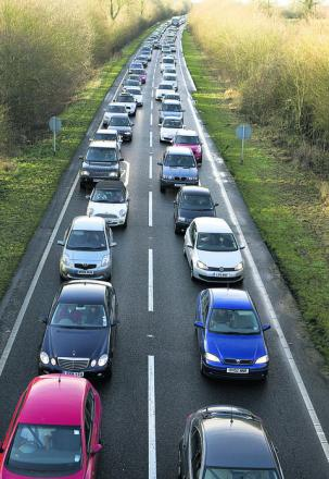 Heavy traffic made the going slow on the A41