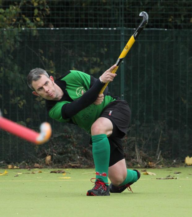Bicester men's Andy Brown has a pop at goal in the 4-3 win at Wokingham