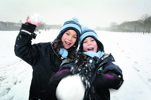 A blizzard of fun as kids get the day off