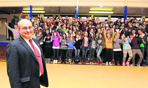 Wallingford School headteacher Wyll Willis with sixth formers