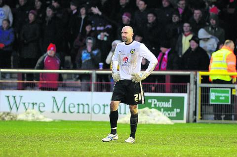 Goalkeeper Wayne Brown sums up the mood as Oxford United concede goal No 3 at Fleetwood
