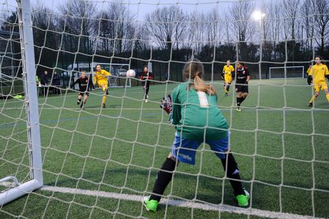 Bartholomew School go for goal while representing Oxford United in the npower Football League Under 13 Girls Cup area tournament