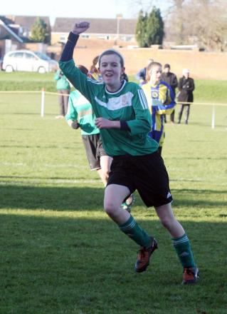 Kidlington's Hannah Vincent celebrates her goal against Didcot Casuals in the Under 16 League