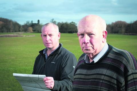Mick Wyatt, right, with his nephew Mark, who has launched a bid to get Oxfordshire County Council to end its dispute over the use of waste material at the golf course