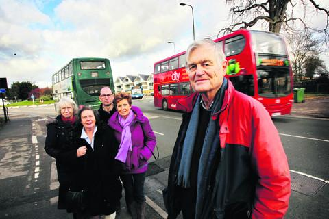Residents Jean Fooks, Vicky Shepstone, Marcus Priestley, Rosie Kemp and Richard Davy, who have been protesting after an improvement bid for traffic lights at Cutteslowe roundabout was dropped  Picture: OX57397 Ed Nix