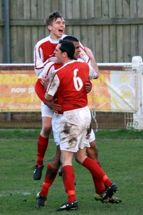 Substitute Ryan Tappin shows his delight  as Didcot celebrate Joel Mead's late equaliser