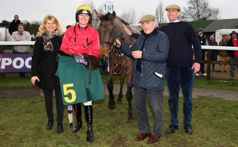Joe Hill and Ravethebrave in the winner's enclosure with his mum Lawney, Dudley Morgan and dad Alan Picture: Roger Harris