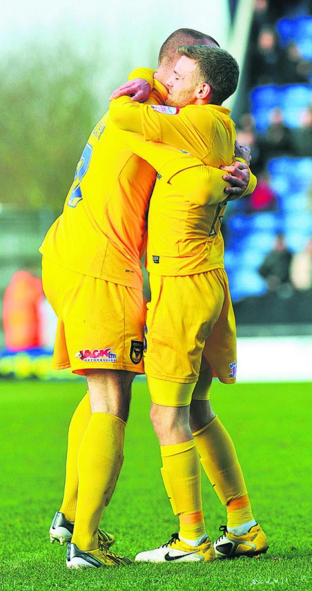 Alfie Potter (right) and Deane Smalley after the former's opening goal