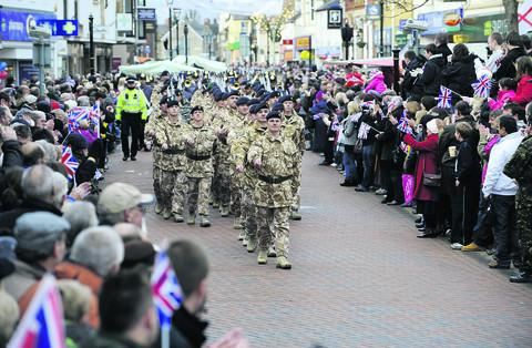 Soldiers from 23 Pioneer Regiment parade through Bicester in 2009 after being awarded their Afghanistan campaign medals at St David's Barracks