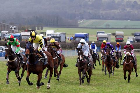 Runners battle for the lead in one of the maiden races at last year's Kingston Blount Racing Club meeting