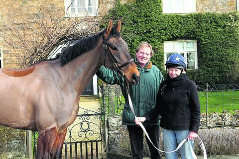 Cantlow with trainer Paul Webber and stable groom Hazel Wainwright