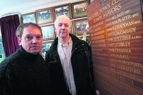 Councillors Les Sibley, left, and Nick Cotter with the list of past mayors. Picture: OX57333 Andrew Walmsley