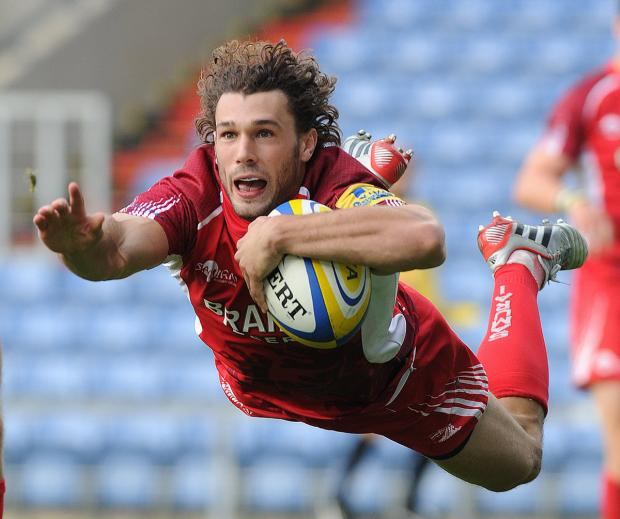 Tom Arscott dives over for a spectacular try against Saracens earlier this season. Arscott will leave London Welsh in the summer to join Sale
