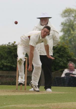 Karl Penhale in full flow during his spell of 3-44 on his first appearance for Oxfordshire