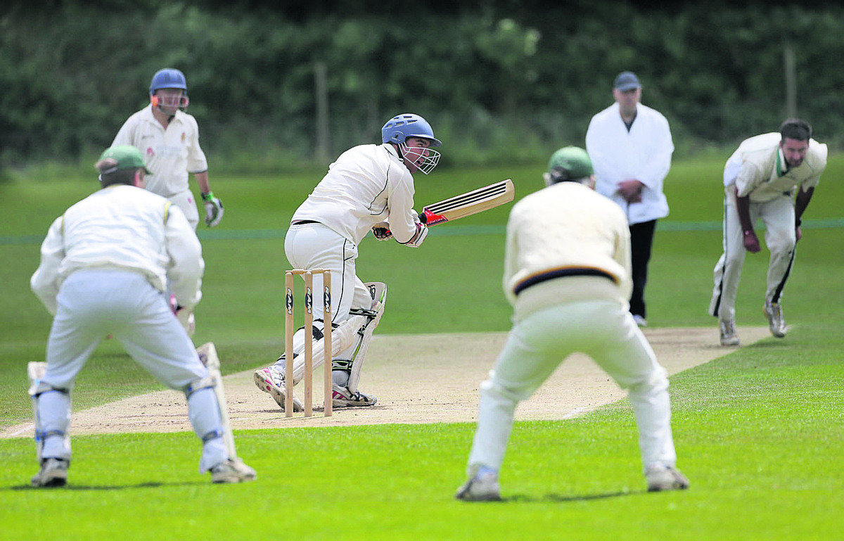 Bicester & North Oxford opener Dan Murphy smashes Simon Launder through the covers during their two-wicket defeat at home to Oxford Downs 2nd on Saturday