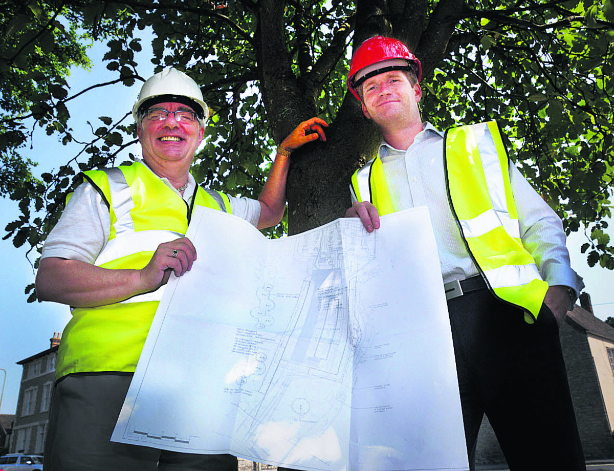 Bicester Town Council leader James Porter, left, and operations manager Chris Johnson with the tree survey