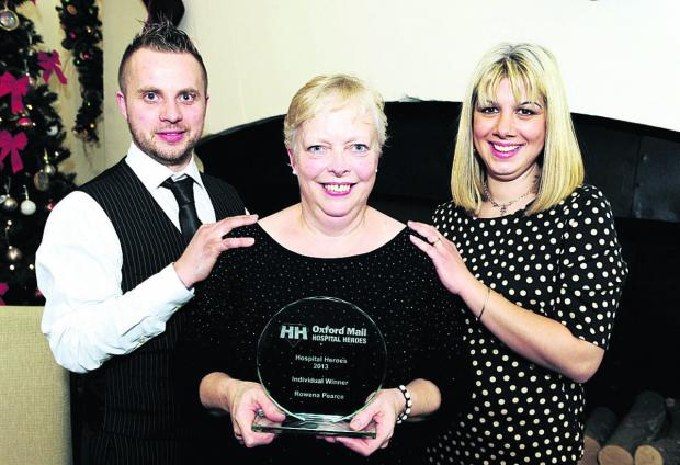 Individual winner of the Hospital Heroes award Rowena Pearce, centre, nominated by Andrew and Nina Lawson