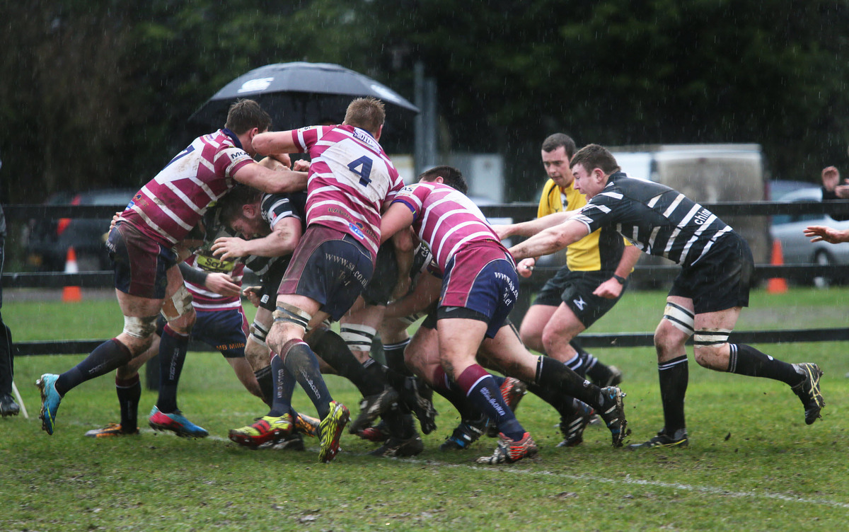 Chinnor drive on for their opening try against Shelford, which was scored by prop Joe Pickett