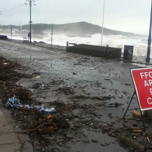 The seafront at Aberystwyth, Ceredigion, has been battered by the elements.