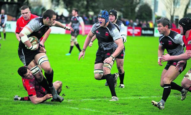 Bicester Advertiser: Mitch Lees (right) shouts for Carl Kirwan to off-load just before scoring his first try for London Welsh in their 33-26 victory at Jersey last week