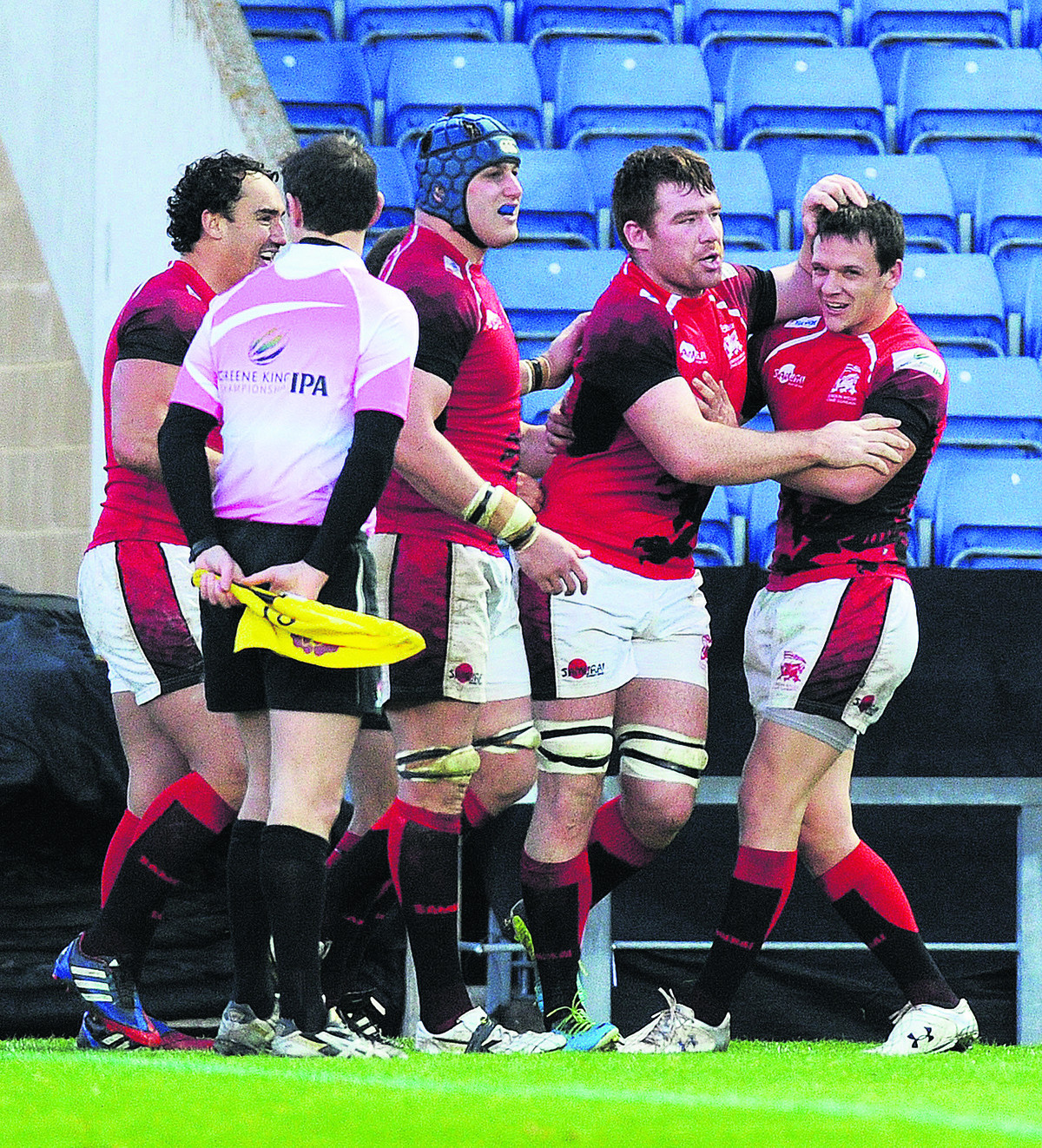 Ollie Stedman (second right), pictured celebrating his try against Bristol at the Kassam Stadium in November, retains his place to face Pontypridd, which Rob Lewis (right) will captain