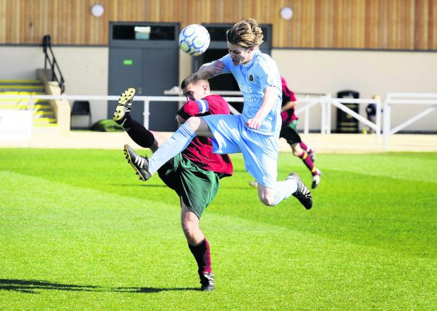 Ardley United's Harry Brock (right) was sent off during their goalless draw at Kidlington on Saturday