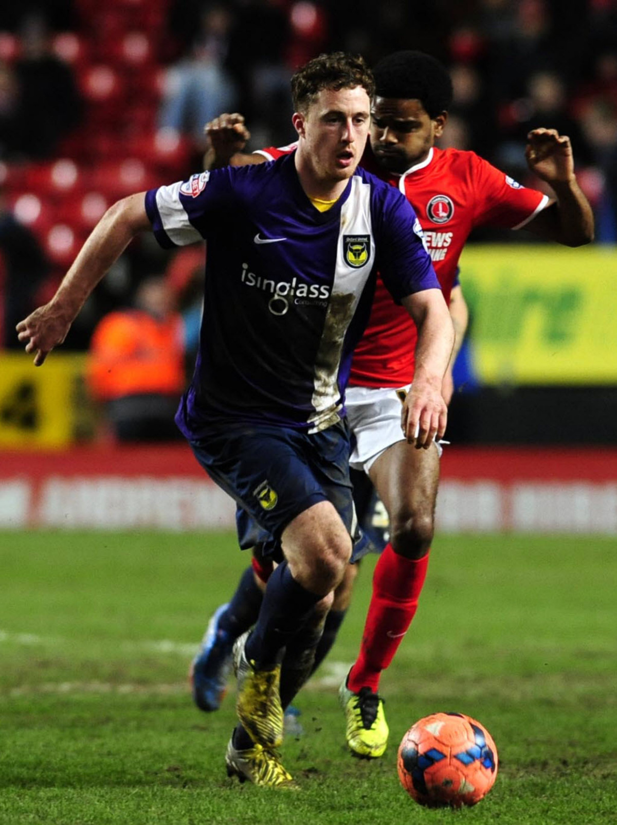Scott Davies on the charge for United at Charlton
