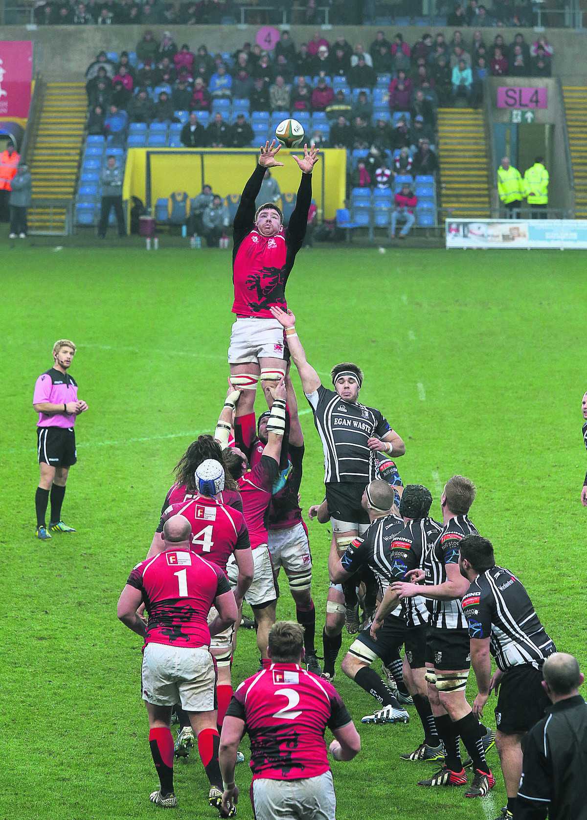 Ollie Stedman, pictured winning a line-out against Pontypridd last weekend, is one of only four London Welsh players to keep th