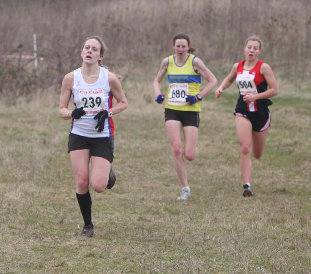 Alchester's Michelle Pank (239) leads Headington's Jude Craft (680) and Cirencester's Jenny Manners (504) in last year's Oxford Mail League ladies' race at RAL Harwell. This year's event will incorporate the Oxfordshire Cross Country Champions