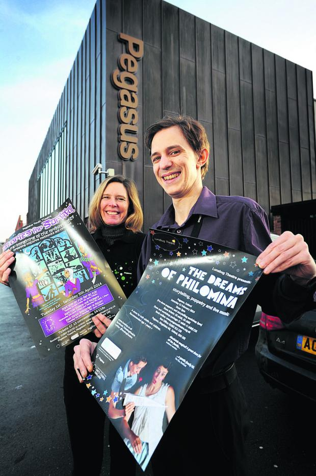 Bicester Advertiser: Pegasus Theatre volunteer Julia Tilford with assistant operations manager Joe Shuter. Picture:  OX64794 Jon Lewis