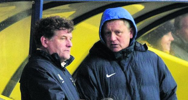 Mickey Lewis and Chris Wilder discuss tactics on Saturday