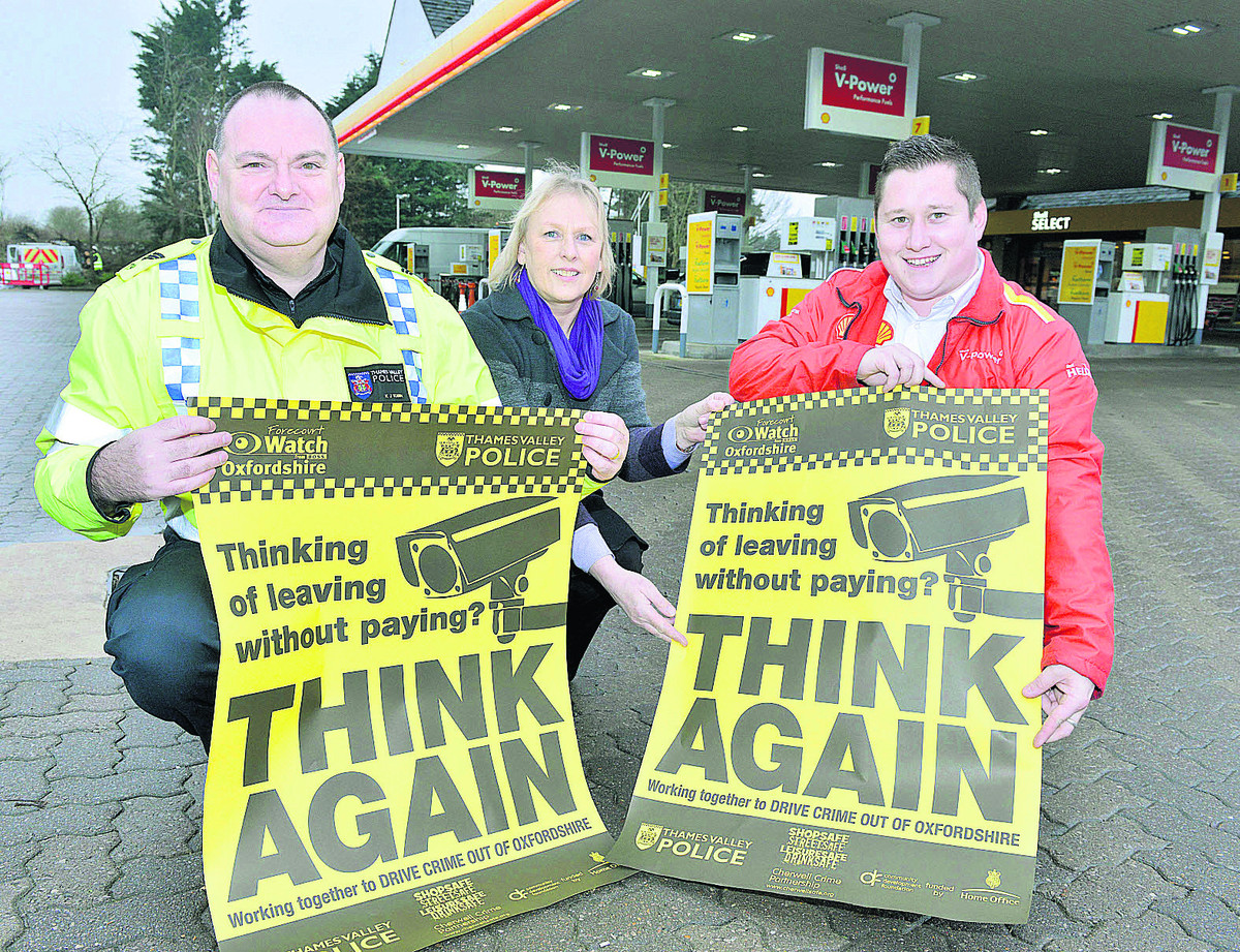 GETTING TOUGH: From left, Sgt Kevin Tobin, Cherwell Crime Partnership co-ordinator June Lynes and Shell Ducklington assistant manager Rory Gough