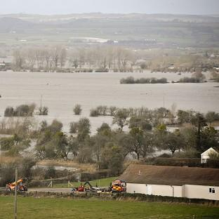 Bicester Advertiser: Flood water covers part of the Somerset Levels near Burrowbridge