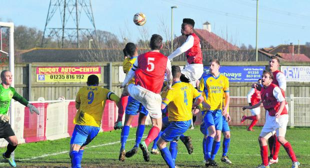 Didcot Town's Germaine Ofori has a header saved by Sam Alexander in the  2-2 home draw with Bridgwater on Saturday