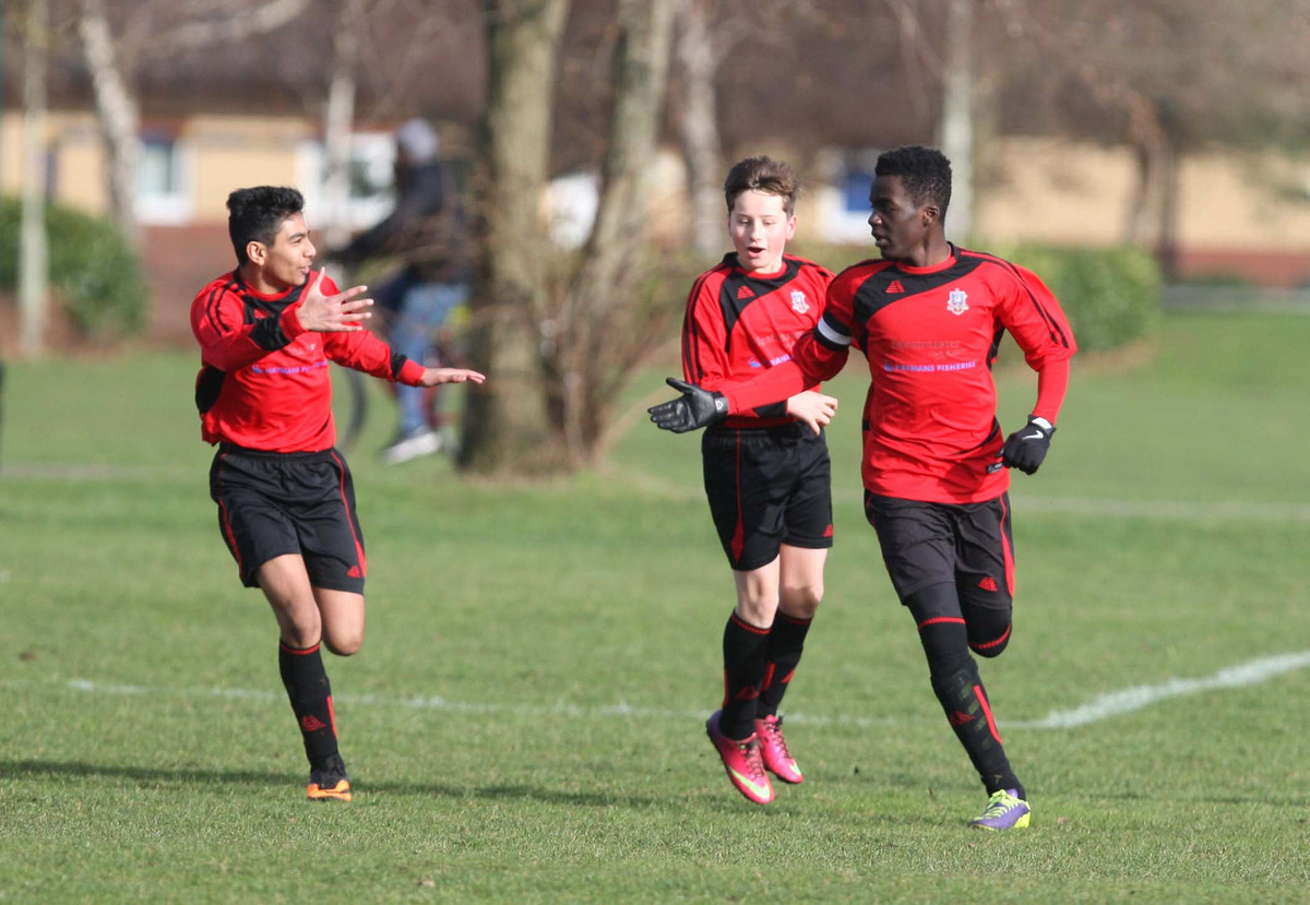 Hinksey Park's Denzel Atito (right) celebrates after scoring the opening goal against Oxford Blackbirds. However his side went on to lose the Under 14 Knockout Cup clash 3-1