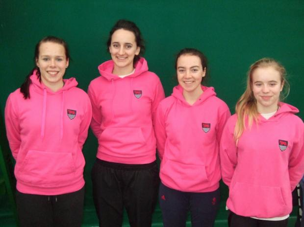 Oxfordshire's on-song under 18 girls teams. From left: Patricia Valimaa, Alice Atkins, Lizzy Shortis and Aoife Miller