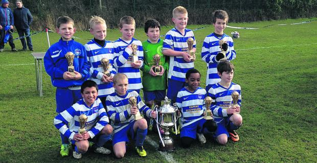 The victorious Oxford City Under 10 team. Back row (from left): Kyle Emberton, Lewis Howlett-Carpenter, Ajay Desmond, Daniel Brain, Callum Lucas, Guillaume Blanchard. Front: Dahnish Ali, Kyle Hall, Mari Thomas, Charlie Fegan