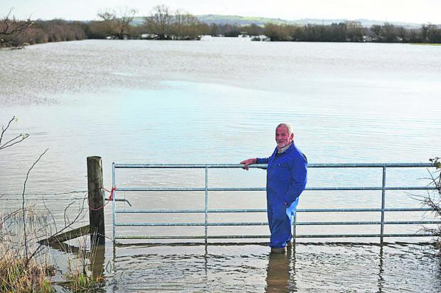 Brian Franklin on land at Moorlands Farm in Murcott, near Kidlington, which has been swamped since before Christmas