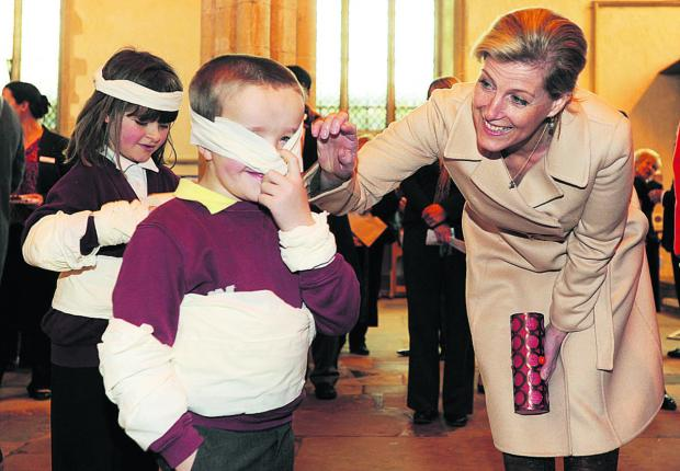 The Countess meets Abbie and Alec Kent, aged eight and seven, who were taking part in PACT's 'Bounce Back for Kids' programme
