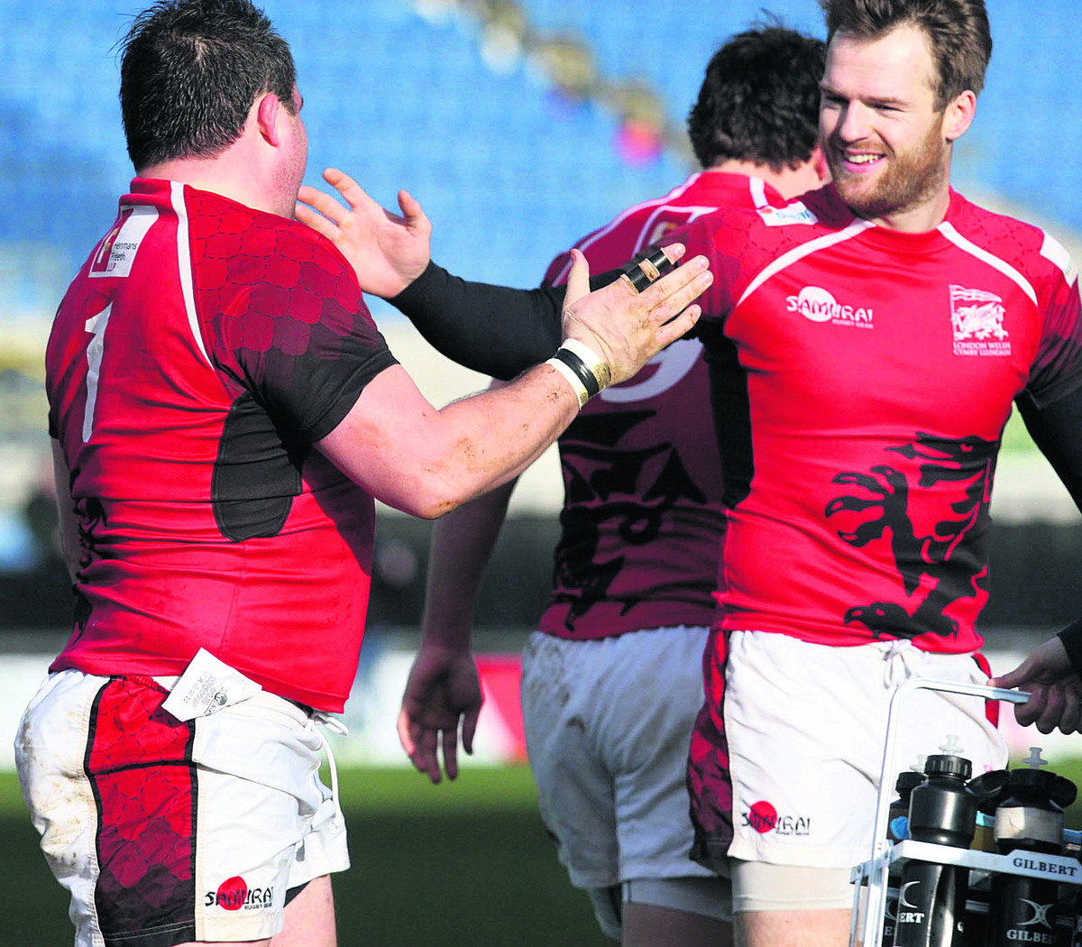 Seb Jewell (right) congratulates Nathan Trevett on scoring London Welsh's opening try in the 47-16 victory against Rotherham
