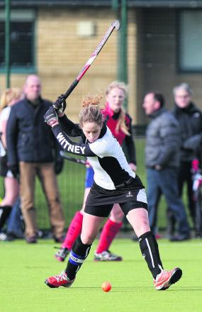Witney captain Katie Gatt fires in a fierce shot at goal against Banbury