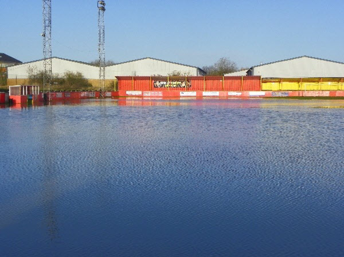 Banbury United's flooded Spencer Stadium earlier this month