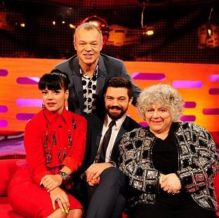 Bicester Advertiser: Presenter Graham Norton, back, with - from left - Lily Allen, Dominic Cooper and Miriam Margolyes