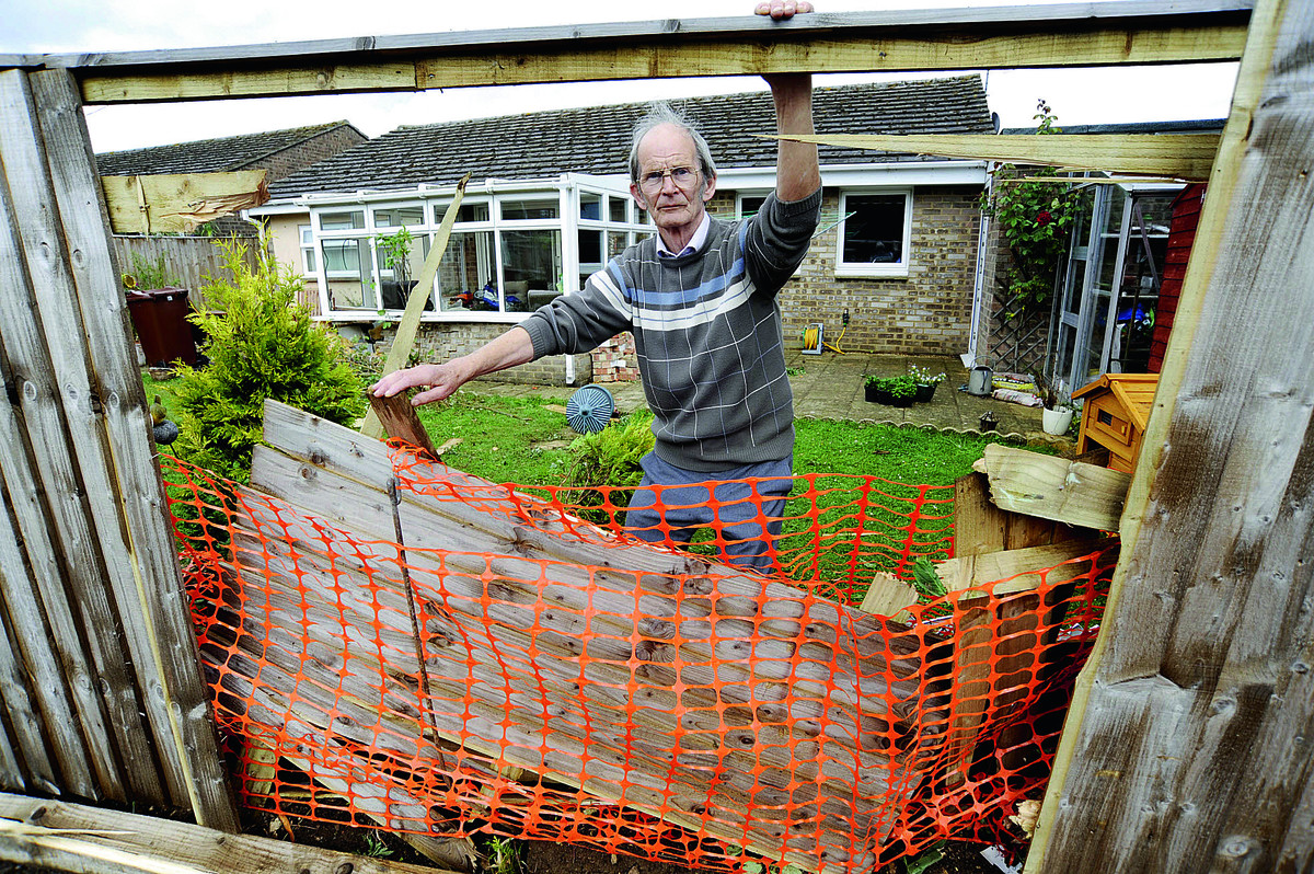 John Baker, 73, at his home last August, after a car smashed through his fence into the side of his conservatory