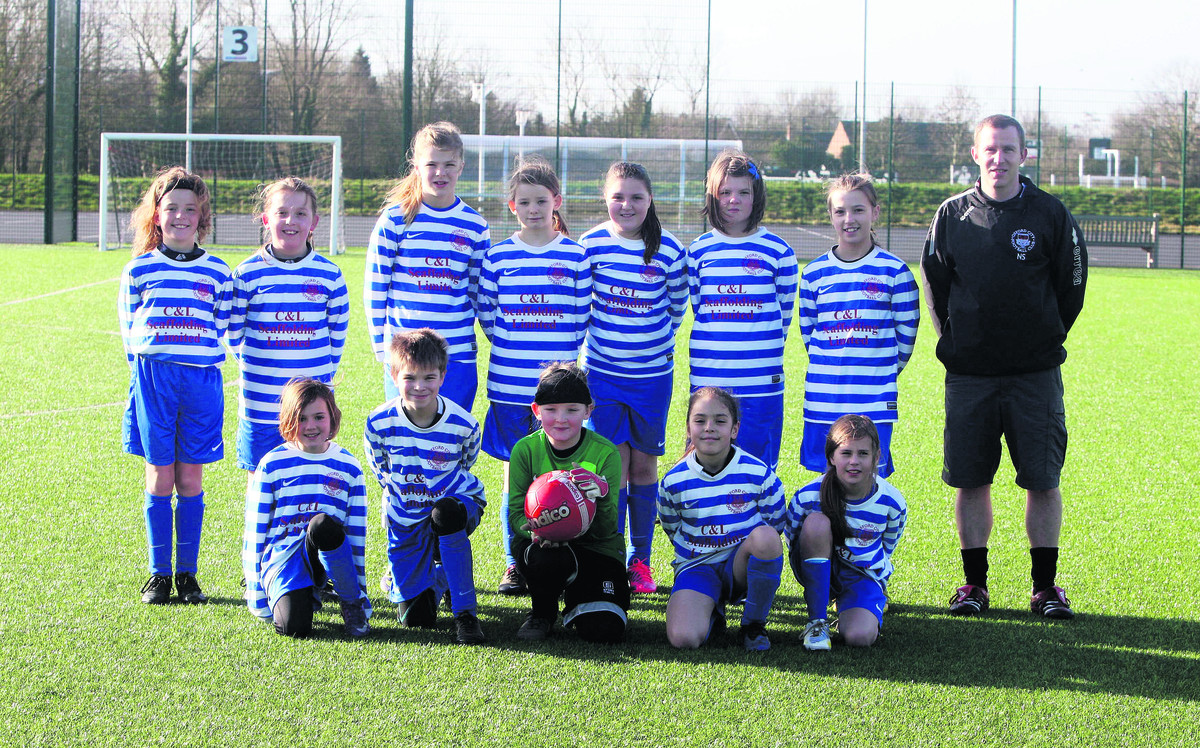 City's Under 11s. Back row (from left): Lily Harries, Ella Harries, Millie Collier, Molly Jones, Poppy Staniford, Stella Stella Clarke, Ella Littlewood, Nathan Stanford (coach). Front: Evie Price, Lo Bitel, Lucy Carveth, Jasmin Nassar, Thea Hornblow
