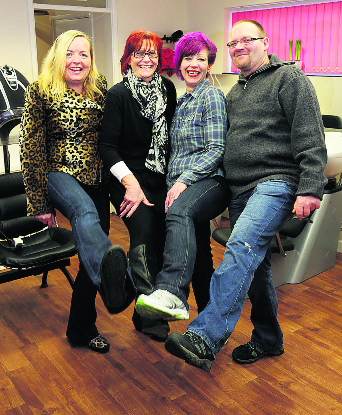 TAking on the world: From left, Alyson Clifton, Jo Chiverton, Sandy and Nigel Butler as they look now