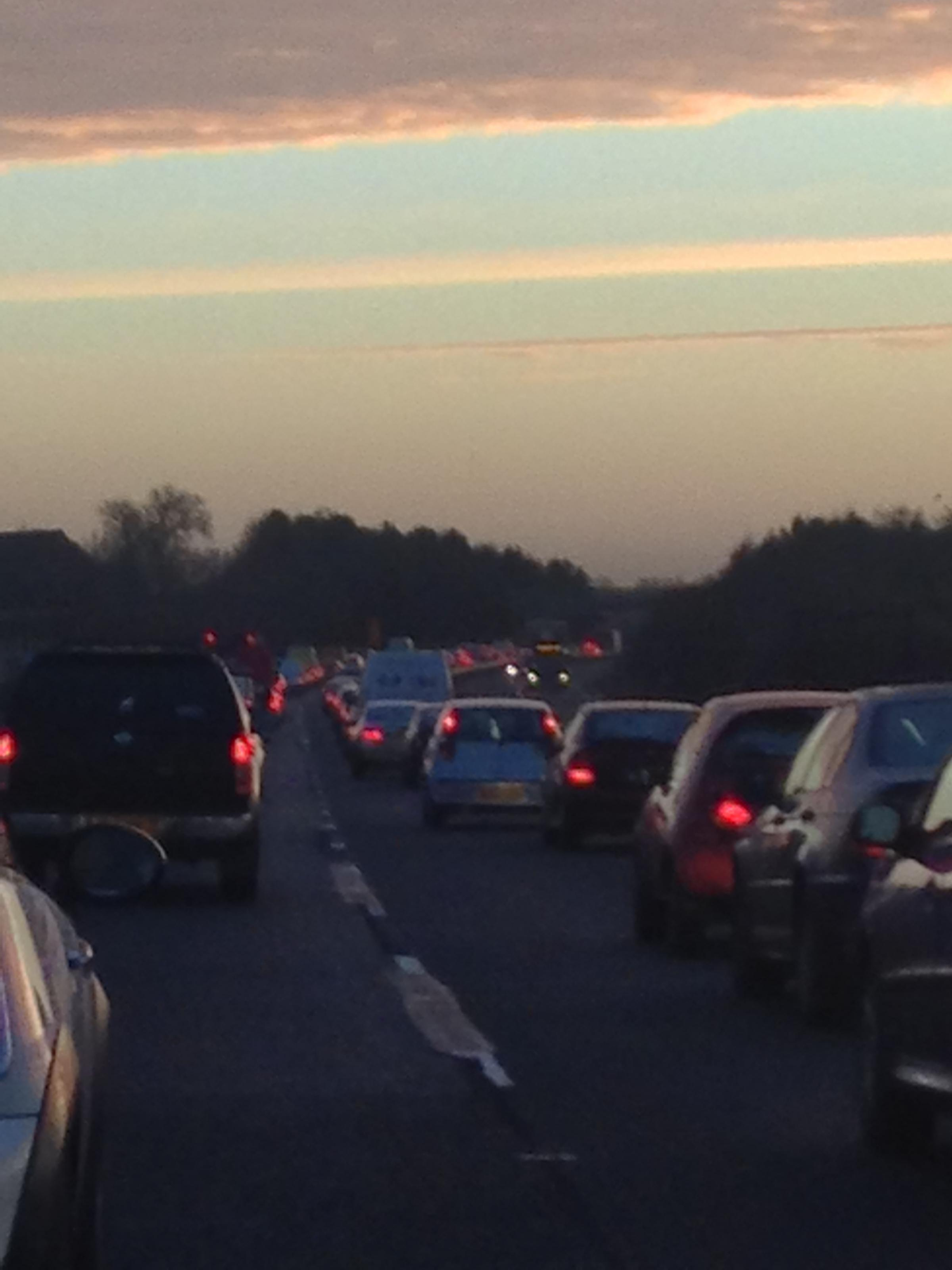 Traffic queuing on the A40 outside Witney this morning