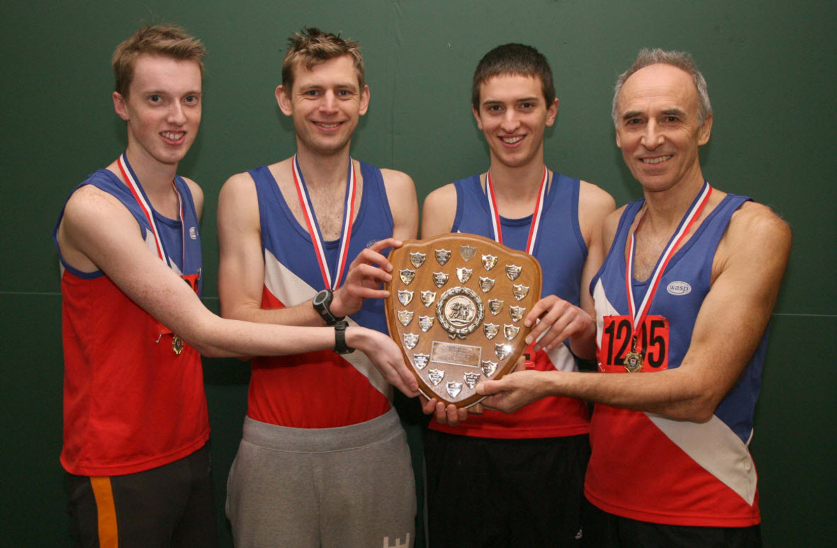 Oxford City's (from left) Ryan Meredith, Aaron Burgess, Matthieu Marshall and Stewart Thorp with the Division 1 shield