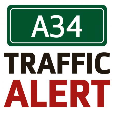Traffic delays after car and lorry crash on A34